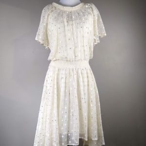 Leifnotes | Cream Lace With Gold Sequined Dress